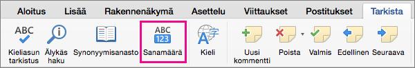 Määritä valitun tekstin kieli valitsemalla Tarkista-välilehdessä Kieli.
