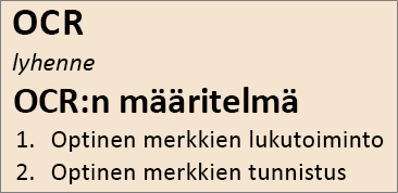 Yleistä OCR-tekstintunnistuksesta