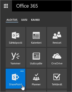 Sovellusten käynnistys, jossa SharePoint näkyy korostettuna.