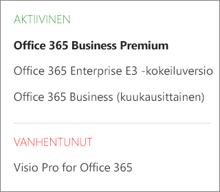 Office 365 -hallintakeskuksen Tilaukset-sivu, jossa näkyy luettelo useista tilauksista ryhmiteltyinä tilan mukaan.