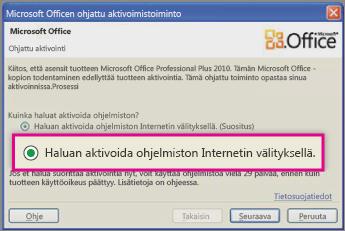 Ohjelmiston aktivoiminen Internetin välityksellä