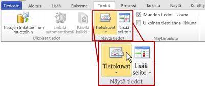 Visio 2010 -valintanauhan Tiedot-välilehden Näytä tiedot -ryhmä.
