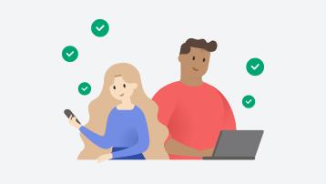 Henkilö katsomassa puhelintaan ja toinen henkilö katsomassa kannettavaa tietokonettaan. Heidän ympärillään on vihreitä tarkistusmerkkejä.