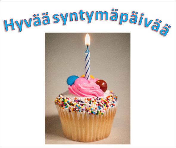WordArt-esimerkki, jossa on kuva ja sanat Hyvää syntymäpäivää