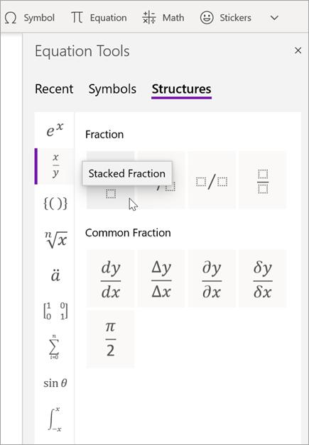 Valitse rakenteet, jos haluat selata käytettävissä olevia matemaattisia rakenteita tyypin mukaan.