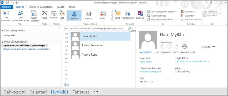 Ryhmäsivuston yhteystiedot sellaisina kuin ne näkyvät Outlookissa
