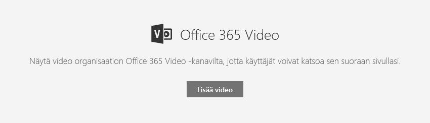 Näyttökuva Office 365:n Lisää video -valintaikkunasta SharePointissa.