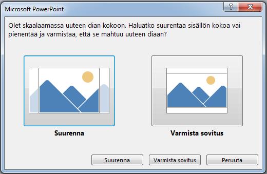 Jos valitset suurentamisen, sisältöä voi jäädä tulostusreunusten ulkopuolelle vasemmanpuoleisessa kuvassa osoitetulla tavalla.