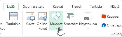 Excelin Lisää muotoja -painike