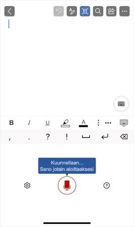 Näyttökuva sanelusta iPhonea aktivoitaessa.