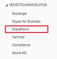 Näyttökuva SharePointin Järjestelmänvalvoja-asetuksista.