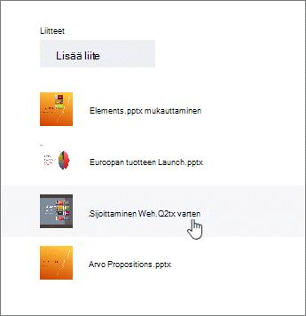 Valitse asiakirjan tiedot liitetiedosto-luettelosta