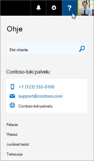 Mukautettu ohje tulee näkyviin Office 365-ohje korttiin