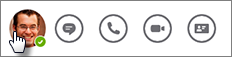 Yhteyshenkilön kuvan napauttaminen pikaviestin lähettämistä, puhelun soittamista tai yhteystietokortin tarkastelua varten