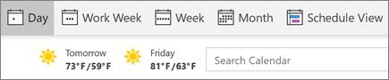 Näkymien vaihto Outlookin kalenterissa