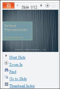 Microsoft PowerPoint Mobile -katseluohjelman dianäkymä