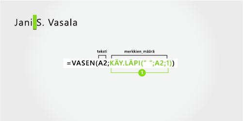 Kaava, jolla erotetaan etu-ja suku nimi sekä keskimmäinen alku kirjain