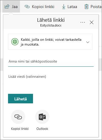 Tiedoston tai kansion jakaminen OneDrive for Businessissa