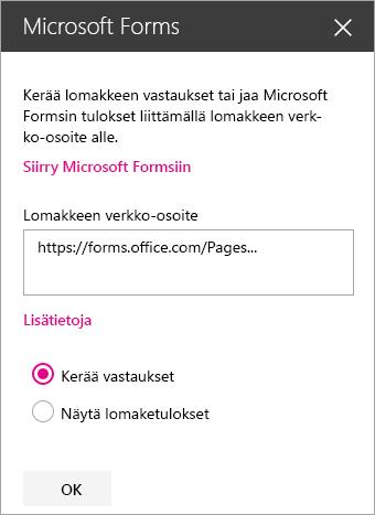 Microsoft Forms -WWW-osapaneeli aiemmin luotua lomaketta varten.
