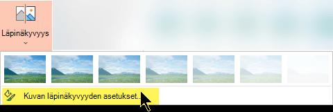 Kuvan läpinäkyvyys asetusten avulla voit valita kuvalle mukautetun peittävyystason.
