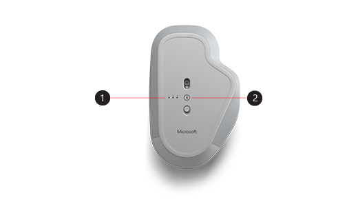 Picture of the bottom of the Surface Precision Mouse pointing out the pairing button and the pairing lights.