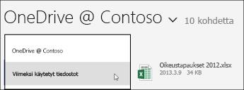 OneDrive for Business -näyttövalikko