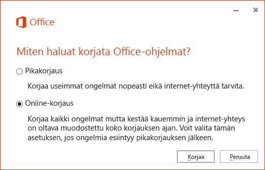 Officen Korjaa-valintaikkuna korjattaessa OneDrive for Business -synkronointisovellusta