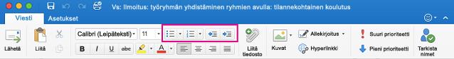 Valintanauhan luettelopainikkeet Outlook for Macissa