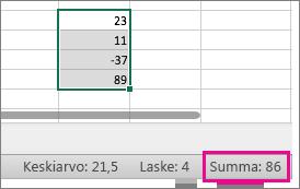 Näet summan sivun alareunassa valitsemalla numerosarake