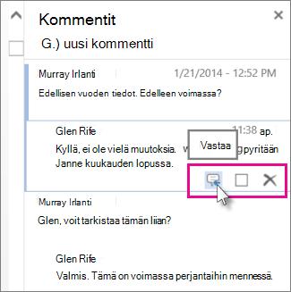 Kuva Word Onlinen Kommentit-ruudussa kommentin alapuolella olevasta Vastaa-komennosta.