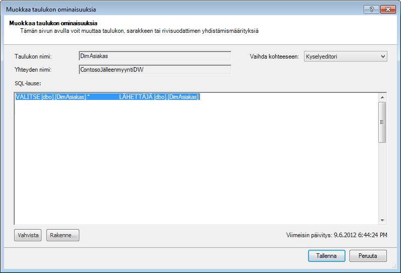 SQL-kysely, jossa käytetään lyhyempää oletussyntaksia
