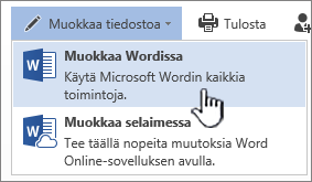 SharePoint-kirjastosta avattu Word-asiakirja, jossa Muokkaa Wordissa näkyy korostettuna.
