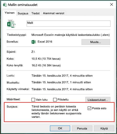 Voit poistaa makrojen eston napsauttamalla tiedostoa hiiren kakkospainikkeella Windowsin Resurssienhallinnassa.