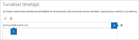 Näyttökuva Turvalliset lähettäjät -sivusta.