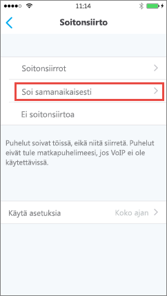 Skype for Business for iOS:n Soi samanaikaisesti -näyttö