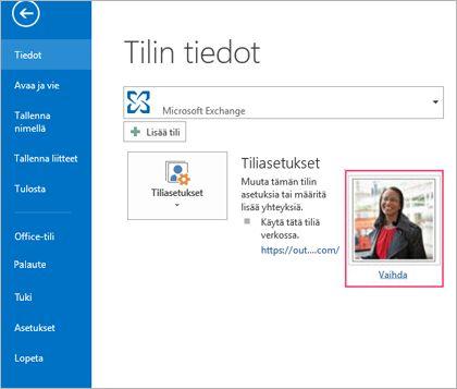 Outlookin Vaihda kuva -linkki