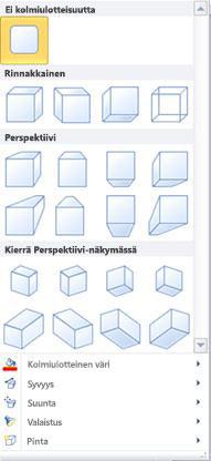 Kolmiulotteisten WordArt-tehosteiden asetukset Publisher 2010:ssä