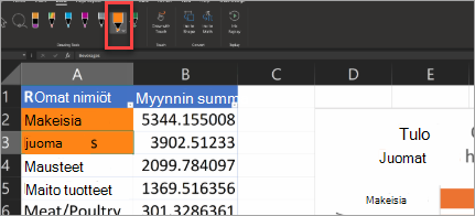 Näyttää Toimintokynän Excelissä