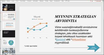 Esitys, jossa olevassa diassa näkyy kaavio ja tekstiä sekä kaksi hyperlinkkiä