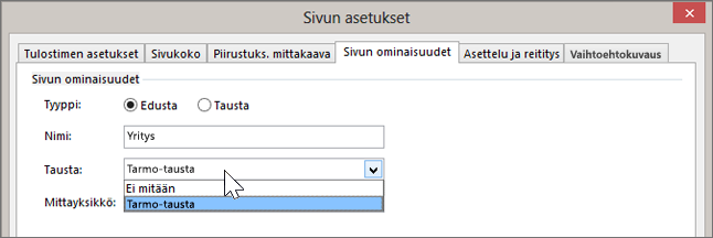 Näyttökuva, jossa näkyvät Sivun asetukset > Sivun ominaisuudet ja Tarmo-tausta on valittuna Taustan avattavasta luettelosta