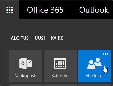 Näyttökuva kohdistimesta Henkilöt-ruudun kohdalla Office 365:n sovellusten käynnistyksessä.