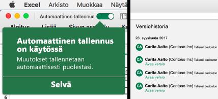 Excelin valintanauha, jossa on Automaattinen tallennus -kupla vasemmalla ja versiohistorialuettelo oikealla