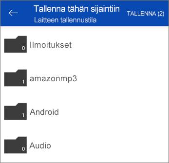 Tiedostojen tallentaminen OneDrivesta