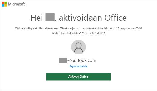 Näyttää Officen aktivointinäytön, joka on merkki siitä, että Office sisältyy tähän laitteeseen.