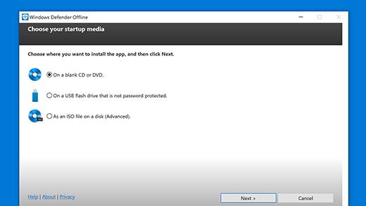 Windows Defender Offlinen siirrettävän tietovälineen asetukset