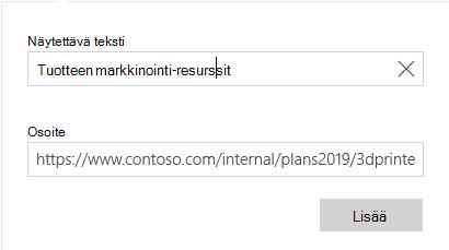 Sähkö postin Windows 10 hyperlinkin teksti-valinta ikkuna
