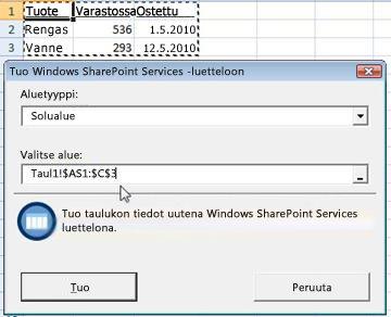 Tuo SharePoint-luetteloon