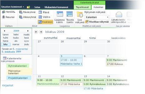 Useiden kalenterien käyttäminen SharePointissa