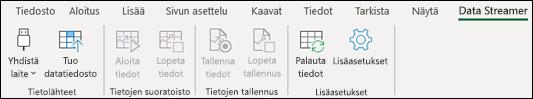 Data Streamer -apuohjelma Excelin valintanauhassa