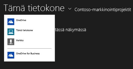 OneDrive for Business -sovelluksen valitseminen toisesta sovelluksesta